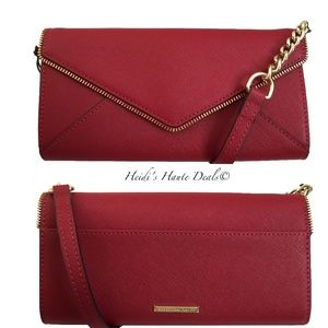 Rebecca Minkoff Cleo Red Leather Chain Wallet Bag